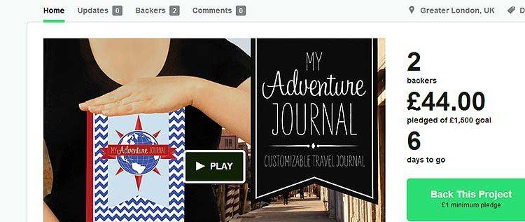 """My Adventure Journal"" – Kickstarter Kampagne"